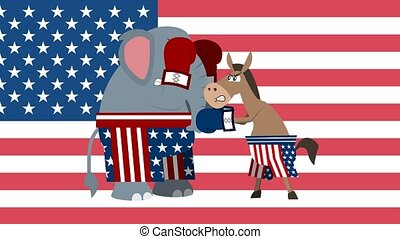 Republican ?lephant ?nd Democrat Donkey Is Boxing. 4K Animation Video Motion Graphics With USA Flag Background