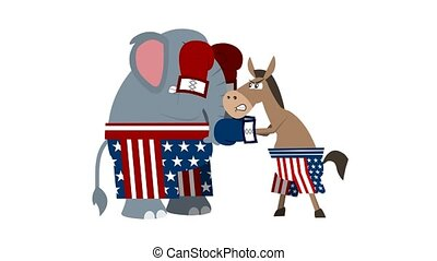 Republican ?lephant ?nd Democrat Donkey Is Boxing.  4K Animation Video Motion Graphics With White Background