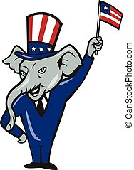 Republican Mascot Elephant Waving US Flag