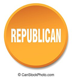 republican orange round flat isolated push button