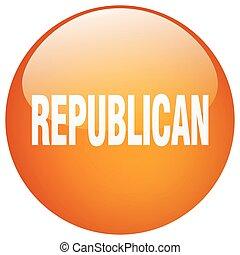 republican orange round gel isolated push button