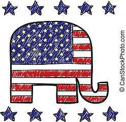 Doodle style Republican Party elephant symbol with American Flag overlay in vector format.