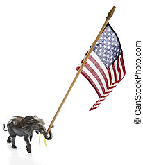 Republican Patriot - A toy elephant carrying a large (for...
