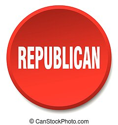 republican red round flat isolated push button