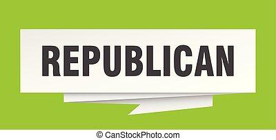 republican sign. republican paper origami speech bubble....