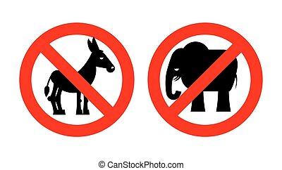 republican., signe, symboles, parties., démocrate, uni, donkey., usa, politique, crossed-out, rouges, emblème, arrêt, prohibition, animals., interdit, elephant., states., élections, contre, américain, interdiction