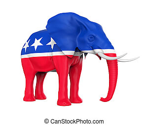 republicano, aislado, elefante