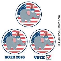 republicano, colección, elefante
