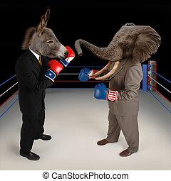 republicano, demócrata, vs.