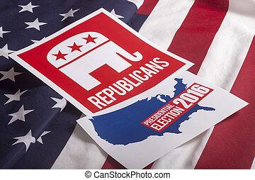 republicano, elección, voto, y, bandera estadounidense