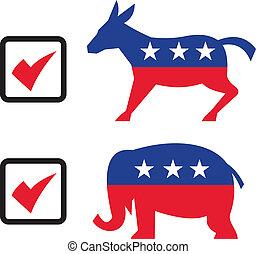 republicano, elefante, demócrata, burro, eelection, papeleta