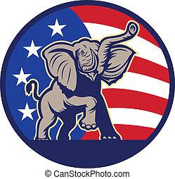 republicano, elefante, mascota, bandera de los e.e.u.u