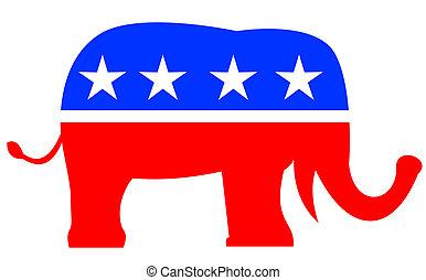 republicano, elefante, mascote, bandeira eua