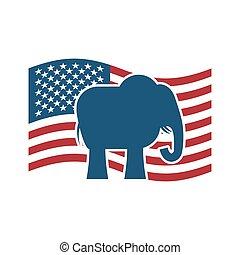 republicano, flag., político, nosotros, elefante, fiesta, américa