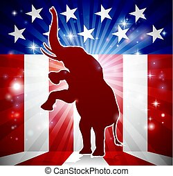 republicano, político, elefante, mascota