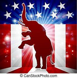 republicano, político, elefante, mascote