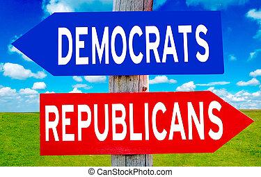 republicano, y, demócrata, señal