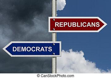 republicanos, contra, demócratas