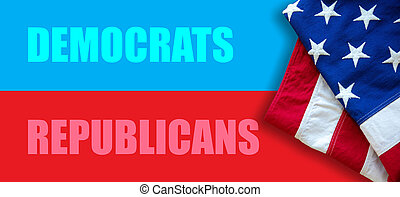 Republicans, Democrats text on red and blue color background. USA elections choice