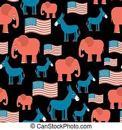 republicans., ezel, republikein, flag., politiek, seamless, textuur, democraat, symbolen, achtergrond., america., ormanent, democraten, elefant, vaderlandslievend, amerikaan, pattern., debat, verkiezing