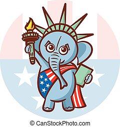 republicans., verenigd, usa, states., politiek, verkiezing, illustratie, debat, symbolen, america., partijen, standbeeld, elefant, vlag, liberty.