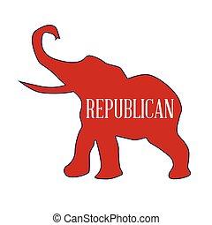 republikánský, červeň, slon
