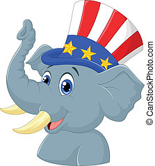 republikánský, slon, karikatura, charact