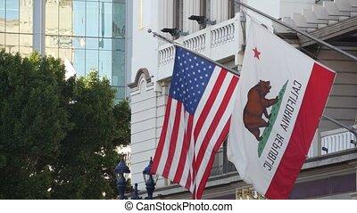 republika, środek, bandery, falować, symbol, stany, ćwierć, ...