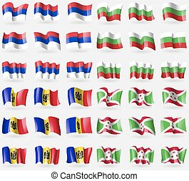 Republika Srpska, Bulgaria, Moldova, Burundi. Set of 36 flags of the countries of the world. Vector