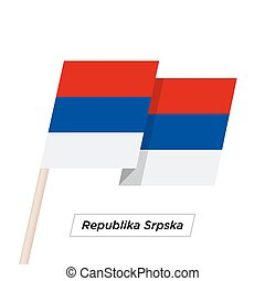 Republika Srpska Ribbon Waving Flag Isolated on White....