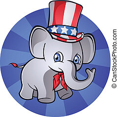 republikanin, słoń, rysunek, charact