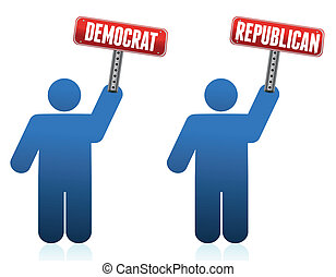 republikein, democraat, iconen
