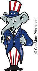 republikein, elefant, mascotte, beduimelt omhoog, usa...