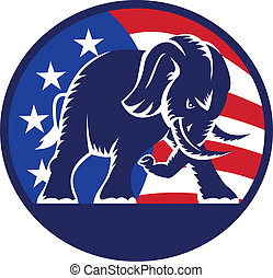 republikein, elefant, mascotte, usa dundoek