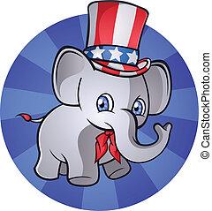 republikein, elefant, spotprent, charact