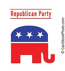 republikein, feestje, elefant