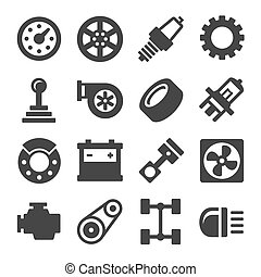 repuestos de automóviles, iconos, conjunto, blanco, fondo., vector