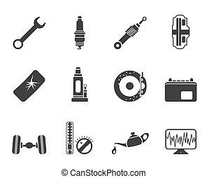 repuestos de automóviles, silueta, iconos