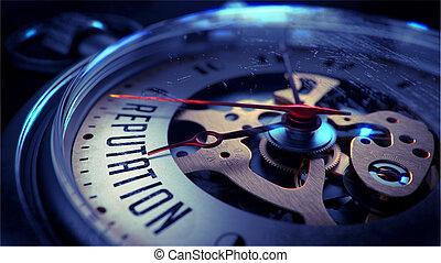 reputación, en, relojde bolsillo, face.