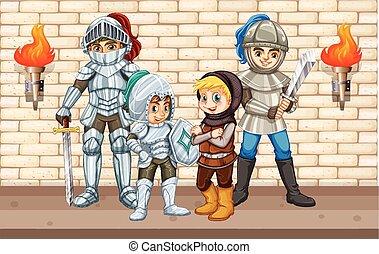 reputacja, ściana, cztery, rycerze