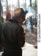 reputacja, afrykanin, las, outdoors, smoking., człowiek