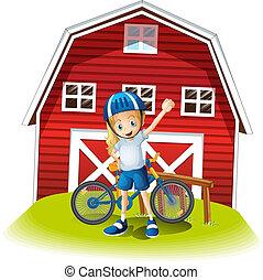 reputacja, barnhouse, biker, samica, przód, czerwony