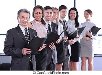 reputacja, biuro, handlowy, clipboard, dzierżawa, drużyna