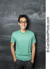 reputacja, blackboard., następny, asian obsadzają, szczęśliwy
