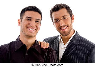 reputacja, businesspeople, razem, patrząc, aparat fotograficzny, szczęśliwy
