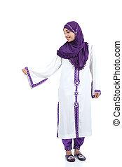 reputacja, chodząc, kobieta, islamski, przedstawianie, hijab