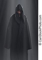 reputacja, ciemny, facet, czarna szata