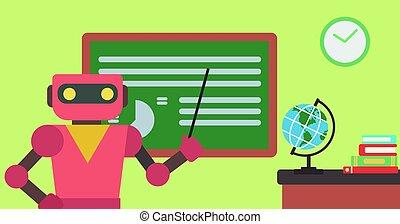 reputacja, classroom., wskazówka, robot, nauczyciel