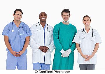 reputacja, drużyna, uśmiechanie się, razem, medyczny