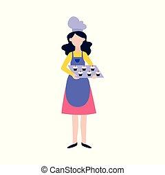 reputacja, fartuch, styl, kobieta, płaski, kapelusz, mistrz kucharski, cupcakes, taca, rysunek